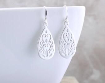 Boho Teardrop Earrings Silver Paisley Earrings Brushed Matte Silver Earrings Silver Earrings Silver Scroll Earrings Unique Jewelry Gift