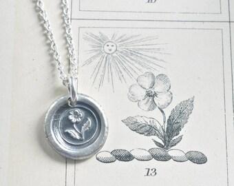flower necklace - wax seal … hope - fine silver Victorian trinket wax seal jewelry