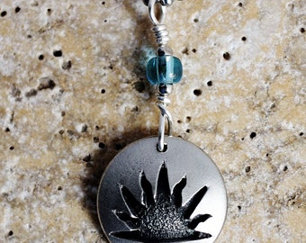 Sun Necklace, Sunset Charm, Sunrise Pendant, Sun Jewelry, Blue Glass Bead, Repurposed Pewter Domed Button Jewelry by Hendywood