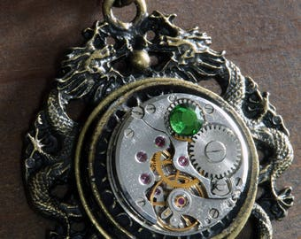 Steampunk Jewelry -  Necklace - Dragon and Antique Watch Movement with Fern Green crystal