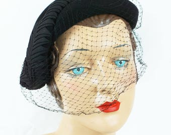 1950s Vintage Hat Black Veiled Asymmetrical Ribbon Trimmed Cocktail