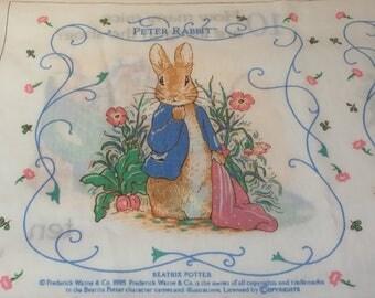Vintage Beatrix Potter Peter Rabbit Fabric Book Panel, 123 Count Numbers Peter Rabbit Book, Vintage Nursery Decor, Vintage Children's Book