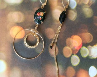Black Asymmetrical Earrings - Hoops  - Vintage findings - Mismatched Earrings - Bohemian (SD1332)