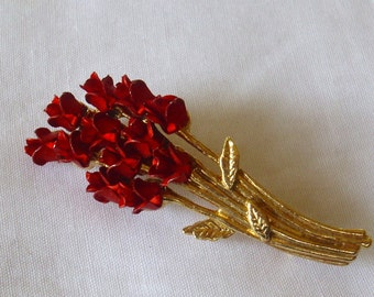 Vintage Red Roses Bouquet Signed Brooch