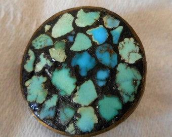 VINTAGE Turquoise Inlay in Metal BUTTON