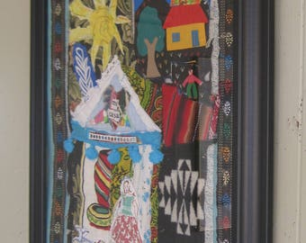 mi casa SENORITA Chic Collage - Southwest Mexico Decor - Altered Vintage Fabric Folk Art -Patchwork Crazy Quilt Primitive Hanging - myBonny