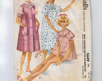 1960s Vintage Sewing Pattern McCalls 5649 Misses Baby Doll Robe and Brunch Coat Nightgown Size Medium 14 16 Bust 34 36 1960 60s