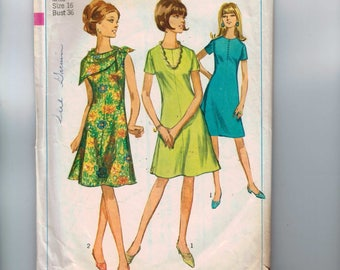 1960s Vintage Sewing Pattern Simplicity 6914 A Line Knee Length Dress Size 16 Bust 36 60s 1966
