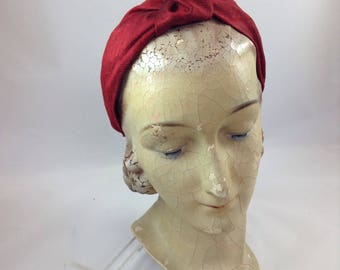 Handmade Turban Headband in Claret Silk Dupion fabric 1940's Turban top knot headband 'C'