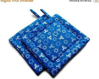 July Sale Quilted Pot Holders Hanukkah set of 2 Blue Candles Star of David