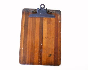 Weathered Antique Wooden Clipboard with Maritime Wartime Shorthand Guide On Back