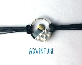 Mountain bracelet in sterling silver on linen, sunset bracelet, ready to ship, Valentines gift, gift for woman, gift for hiker, wanderlust