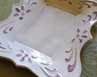 Grey and Purple Ceramic Dish/Vanity Tray/Trinket Dish/Snack Plate/Candle Holder/Jewelry Tray/