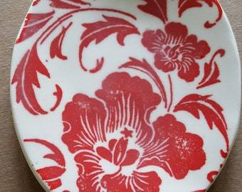 Red Floral Trinket Dish/Ring Dish/Tea bag plate/Snack Plate