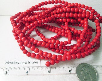 Wood Beads, 6mm Round Beads, Red, Dyed Wood Beads, Red Wooden Beads, 6mm Red Wood Bead, 16 Inch Strand, QTY 1 - wb153