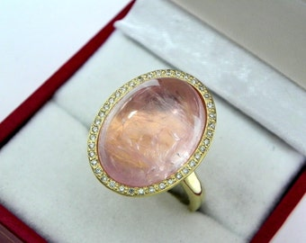AAAA Pink Morganite 18 x 13mm  13.28 Carats   14K Yellow gold Diamond halo cabochon ring. 1523