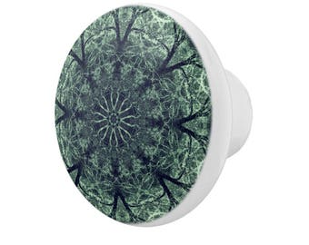 Intricate Green Lacy Zen Mandala Round White Porcelain Drawer Pull Knob