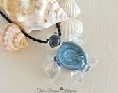 Glass Sea Turtle Pendant,...