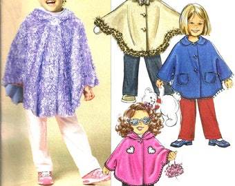 Child's Poncho Pattern 2005 Pants Children's Uncut Butterick Sewing Fast Easy Toddler Girl's Size 1 - 3