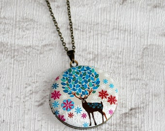 Deer Locket Necklace, Fawn Necklace, Woodland Jewelry, Animal Necklace