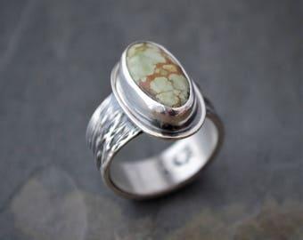 Turquoise Ring, Botanical Ring, Treasure Mountain, Ticklegrass Textured Band, Prairie Grass Jewelry, Prairie Ring, Kansas Ring, Size 8