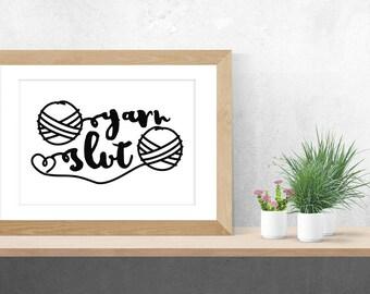 craft room sign - printable art - craft room decor - yarn poster - wall art - typography print - yarn humor - gift for knitters crocheters