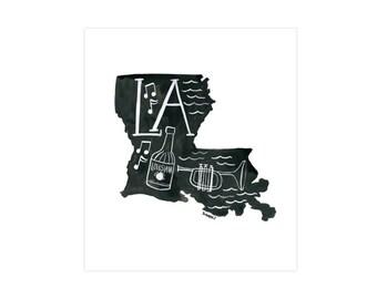 Louisiana State Print // 1canoe2 // Modern Art Print