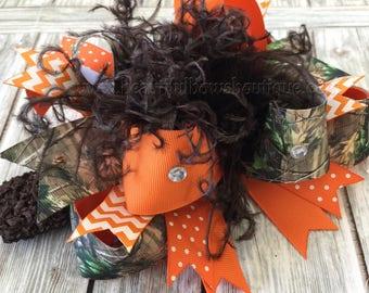 Orange Camo Hair Bow,Realtree Camo Headband,Camouflage Baby Headband,Over the Top Bows Camo,Baby Headbands,Hunting Baby Girl Bows Realtree