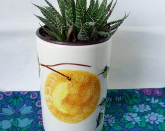 Toni Raymond Ceramic Pot - 1960s Handpainted Vintage Kitchen Pot with Oranges and Leaves