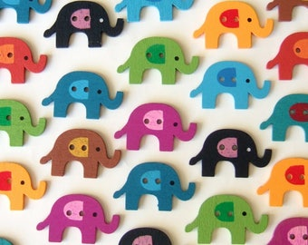 Elephant Buttons - 27 Cute and Colourful Wooden Buttons of Elephants