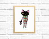 Cute Cat Decor Art | Cats Pajamas Art Print | The Cats Pajamas | Kawaii Cat | Cute Cat Drawing | Christmas Wall Art, Cat Themed Gifts Lover