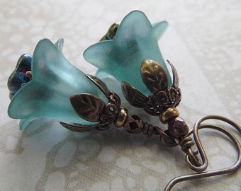 Aqua Blue Flower Earrings with Czech Glass and Antique Copper and Brass