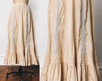 1900s Edwardian Skirt. Tucks & Lace