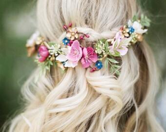 bridal hair clip, bridal headpiece, floral hair vine, floral hair clip, pink hair clip, mauve, navy hair flower, bridal hair vine, burgundy