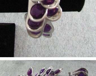 Pop Tab Bracelet - White Ribbon Bracelet with Purple Pop Tabs - Crochet Bracelet - Pop Tab Jewelry - Ribbon Bracelet - Beaded Bracelet