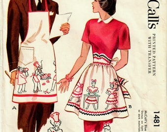 1940s McCall's 1481 Vintage Sewing Pattern Mr and Mrs Aprons, His and Hers Aprons, Half Apron, Work Apron One Size