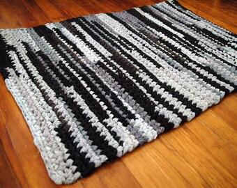 Black, Dark Gray and Light Gray Rectangular Handmade Crocheted Rag Rug ~ Made From Repurposed Sheets