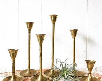 vintage brass candlestick holders - gold metal tulip - Mid Century Modern - Set of 6