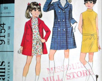 Vintage 60's McCall's 9154 Sewing Pattern, Girls' Ensemble,  Dress and Coat, Size 14, Breast 32, Retro Mod 1960's Girl's Fashion