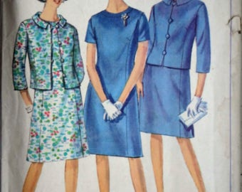 Vintage 60's Simplicity 6978 Sewing Pattern, Misses Women's One-Piece Dress & Jacket, Size 16, 36 Bust, Mad Men Mod 1960's Fashion
