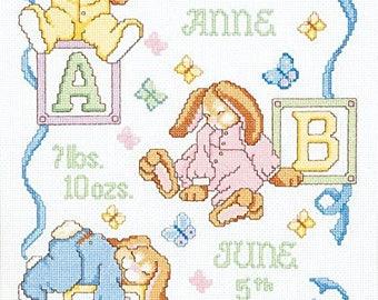 "Janlynn Cross Stitch Kit, Sleepy Bunnies Birth Announcement 13"" x 18"""