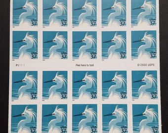 Unused US postage stamps - snowy egret, 37c, 20 stamps, face value 7.40