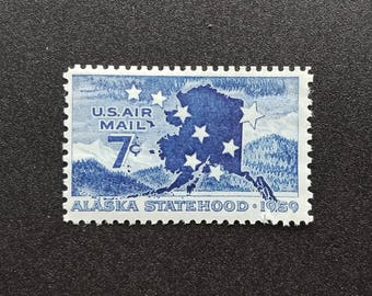 Ten (10) vintage unused postage stamps - Alaska, air mail // 7 cent stamps // Face value 0.70