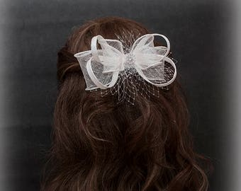 White bow fascinator for brides, bridesmaids and others- New simple and stunning hair accessory for your special occasions