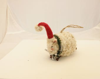 Counting Sheep Ornament, Sheep Christmas Ornament, Needle Felted Sheep Ornie #2726