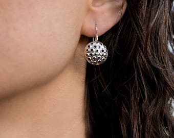 Perforated sterling silver dangle earrings, small, round, shiny, 15mm