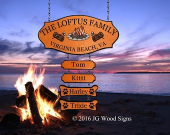 Campfire Pine Tree  RV Camping Sign Cedar Custom Camping Sign  with four addons - Family Name JG Wood Signs Family Camping Sign Etsy Loftus