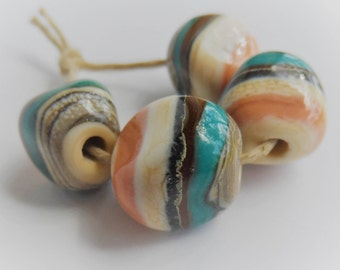 Lampwork Beads, Handmade Glass Beads, Peach Ivory Teal Brown and Silvered Ivory