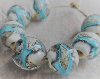 Lampwork, Lampwork Beads, Handmade Glass Beads,Artisan Beads, Turquoise Blue and Ivory