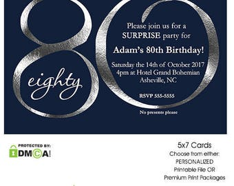 80th Birthday Invitations, 80th Birthday Invitations for Men, 80th Birthday Invitation Printable, Navy Blue and Silver Invitations Printed